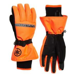 Superdry NEW Men's Ultimate Snow Service Glove - Hyper Orange / Black BNWT