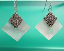 "1"" Diamond Shape Mother of Pearl Shell 925 Sterling Silver Dangle Earring"