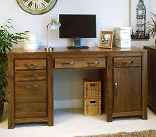 Oskar solid walnut home furniture large twin pedestal office PC computer desk