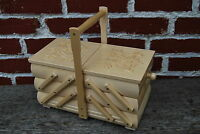 VINTAGE STYLE  LARGE 30cm Long  HAND CRAFTED WOODEN  SEWING  BOX