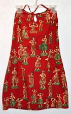 Hawaiian Hula Dancers on Red Cotton Halter Top Designed by SIDEOUT Size S USA
