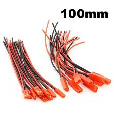 10 pairs 100mm JST Connector 2-pin Plug 22AWG Silicone Wire Cable