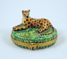 New French Limoges Trinket Box Gorgeous Cheetah Big Cat in African Savannah