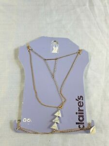 Claire's Accessories Body Chain Gold and white beads