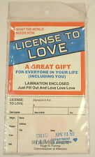 Vintage Novelty License To Love joke april fool party birthday gift