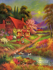 Valley of Flowers (Art Print of Vintage Art) (16 x 21) (Floral Wall Art) Cottage