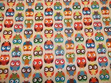 OWLS  on CREAM  COLOR FABRIC byTIMELESS TREASURES 100% COTTON  BRAND 1/2  YARD