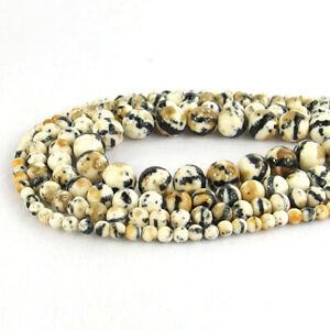 """White & Black Snow Jade Gemstone Round Spacer Beads 15.5"""" 4mm 6mm 8mm 10mm"""