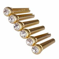 6Pcs Metal Brass Bridge Pins for Acoustic Guitar with Crystal Glass Dot Decor C8