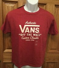 Vans Short Sleeve T-Shirt Boys Med NWT Burgundy Off The Wall Red FREE SHIPPING