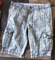 SilverTab Carrier Cargo Shorts Men Size 31 Utilitarian Style Zip Fly Plaid Gray