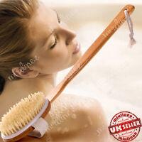 Bath Brush Long Wood Handle Reach Back Body Shower Bristle Scrubber Spa Bathroom
