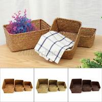 3pc/set Vintage Seagrass Storage Basket Handmade Woven Box Fruit Snack Organizer