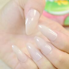 24pcs Oval Sharp end Stiletto False Nails Candy Fleshcolor Nude Full Cover 79P