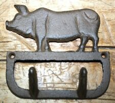 Cast Iron Antique Style PIG Coat Hooks Hat Hook Rack Towel HOG PIGGY