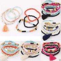 set pulsera cuentas etnica bohemia Ethnic Boho Multilayer Tassel Beads Bracelet