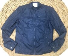 Calvin Klein Blue 4 Pocket Front Motorcycle Style Jacket SZ Small Cafe Racer