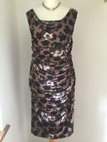 Phase Eight Floral Stretchy Ruched Pencil Wiggle Cocktail Evening Dress  Size 18