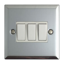 Volex Polished Chrome Light Switches and Electrical Sockets with White Insert