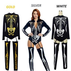 Halloween Snazzy Skeleton Zombies Bodysuit Costumes Print Adult Women Dress