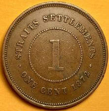 1872H Straits Settlements /Malaysia,Queen Victoria, One Cent,Copper Coin,Antique
