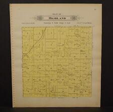 Nebraska Lancaster County Map Highland Township Dbl Side 1903  K17#09