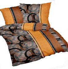 2 tlg.Bettwäsche Bettbezug 155x220cm Seersucker Bügelfrei Braun Gold Übergrösse