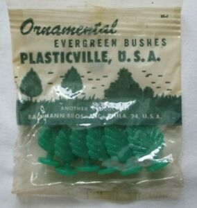 Vintage Plasticville Package of 6 Ornamental Evergreen Bushes