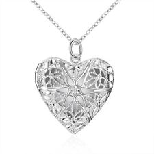UK 925 Silver Plt Open Filigree Star Love Heart Photo Locket Pendant Necklace