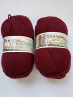 Lot of 2 Patons Canadiana knitting  worsted  Tricot mode yarn Burgundy