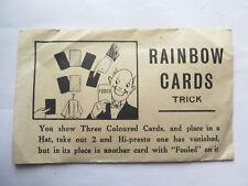 RAINBOW CARDS TRICK ORIGINAL ENVELOPE ORIGINAL CONTENTS c1940s to 1950s