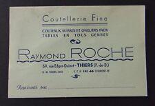 Carte De Visite Coutellerie Couteaux Suisse Onglier ROCHE Thiers Old Visit Card