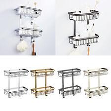 2 Tier Caddy Shelf Bathroom Storage Rack Organizer Solid Brass With 2 Hooks