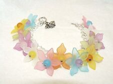 Bee Charm Pastel Lucite Flower Charm Bracelet, Heart toggle Silver plated