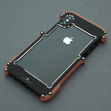 R-Just Wood Metal Ultra-thin Bumper Shockproof Case Cover For iPhone 5/6/XS Max