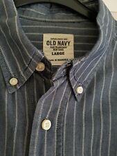 Old Navy Grey/ White Pinstripe Quality Cotton Shirt Size Large worn twice