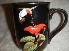 OTAGIRI  BLACK W/ GOLD & RED HUMMINGBIRD W/ 24 KT. MUG CUP JAPAN GIBSON NICE