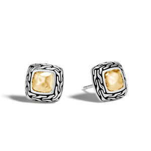 JOHN HARDY classic chain heritage sterling silver 18K gold square stud earrings