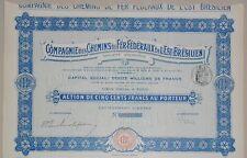 CHEMINS DE FER FEDERAUX DE L EST BRESILIEN ACTION de 500 FRANCS PARIS 1911