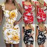 Women's Summer Backless Sleeveless Party Evening Ptint Wrap Mini Dress Sundress