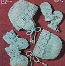 BABY~HELMET EAR FLAPS~BONNET~BOOTEE~MITTS~4 PLY~CROCHET PATTERN~3-6 MTHS (OX 42)
