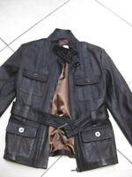Ladies NEXT brown real leather JACKET size UK 10 8 belted SAFARI biker military