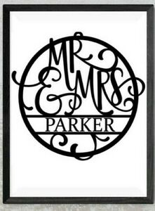 Personalised Mr and Mrs Vinyl sticker wall art - Perfect couple wedding gift