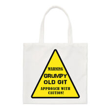 Warning Grumpy Old Git Yellow Small Tote Bag - Dad Fathers Day Funny