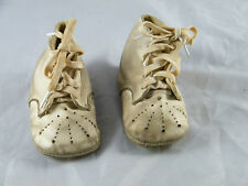 """VINTAGE ~ BABY LEATHER SHOES ~ SIZE 1 ~  4-1/4"""" LONG ~  WHITE COLOR"""