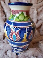 FLORAL COBALT BLUE, WHITE, YELLOW AND GREEN ITALIAN VASE Vintage Hand Painted