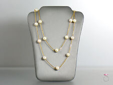 18K Pearl Necklace, Pearls By The Yard. 25 inches with 17 White Akoya Pearl 7 mm