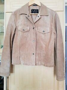 Suede UTEX DESIGN Women's Jacket Beige S/M pit to pit 18 inch