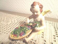 Alte Porzellan Figur Putto mit Früchteschale Sitzendorf Thüringen TOP (E858)xx