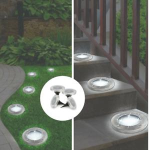 Set of 4 Bell & Howell Solar Stainless Steel Garden Walkway Pathway Disk Lights